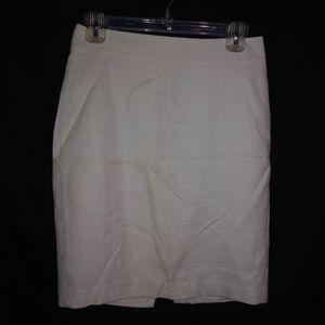 Banana Republic White Textured Skirt 2 Petite